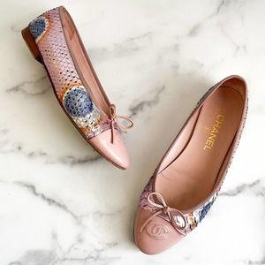 Chanel Flats Python Ballerina Pink Blue Shoes 39.5